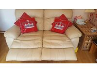 2 Seater Cream Leather Recliner Sofa