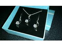 BN Sterling Silver and Crystal Necklace and Earrings Set