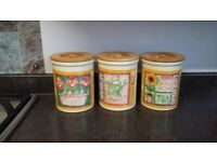 Set of 3 Sugar Tea and coffee cannisters