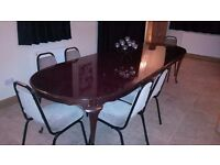 EXTENDABLE DINING TABLE - HIGHLY POLISHED WALNUT
