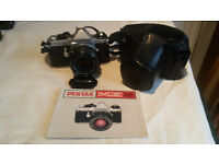 Pentax ME Super SLR film camera with 4 lenses, filters, flash unit, bags/cases, tripod, manuals.