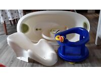 Baby bath, top and tail bowl, and 2 types of baby seat