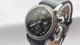 Ladies 'Globe' Swarovski Crystal Set Chronograph Black Leather Watch Boxed