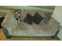 light brown and chocolate brown fabric three seater sofa