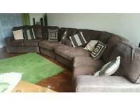 8 seater brushed leather sofa