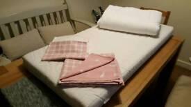 Cot mattress, duvet, duvet cover, sheets