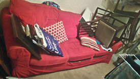 Three seat Ikea sofa - red