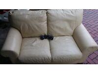 2 seater sofa cream italian leather