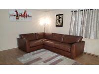 Ex-display Madison brown leather corner sofa