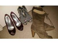 Bundle of three size 6 shoes