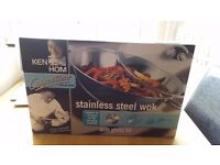 Ken Hom Stainless Steel Wok with Glass Lid - Boxed