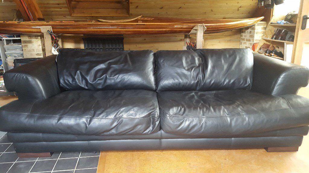 Giovanni Sforza Black Leather 3 Seater Sofa