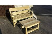 tanalised treated timber two seater bench and table