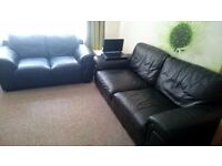 black leather 3+2 seater sofas