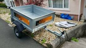 Erde 102 tipper trailer with cover