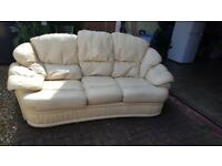 Cream leather sofa, 3 seater and 1 seater used