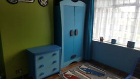BLUE IKEA MAMMUT CHEST OF DRAWERS AND MATCHING DOUBLE WARDROBE
