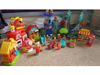 Happy land village, pirate ship, and castle