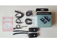 2 Calumet Genesis 300B Flash Units kits, a 4-channel wireless trigger kit, plus background kit..