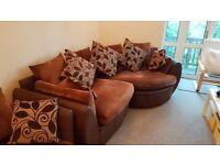 Brown Fabric 2 piece corner sofa VG CppONDITION £100