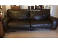 Four seater leather sofa (dark brown)