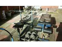 Weight liftingbench and leg curl bench