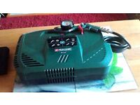 :parkside portable aircompressor ,brand new 8 bar withtyre guage and accessories.