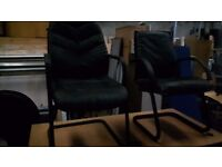 Office furniture 2 black leather chairs