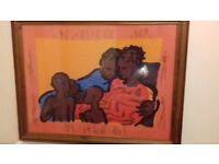Two Large Pictures in Real Wood Frames Depicting Ethnic Scenes Excellent Condition