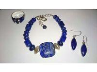 Lapis Lazuli Set - Bracelet, Ring, Earrings