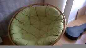 """Round """"saucer"""" Papasan wicker/rattan chair and its lime coloured cushion - PRICE NEGOTIABLE"""