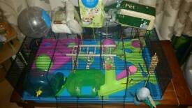 Large hamster cage with food & bedding