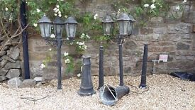 Outdoor/Garden Lighting: 3 x Lamp Post Lantern (x2)