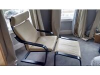 Ikea Poang Chair + Footstool