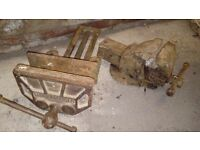 Pair vintage heavy duty vice vices