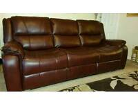 Leather couch settee suite and chairs all recliner (only 2 months old) like brand new 900 ono