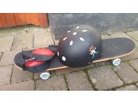 Monster Skateboard, knee pads, helmet and carry case