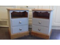 Bedside Units x 2 - Refurbished in grey furniture paint + silver handles - REDUCED!