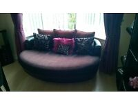 Large Modern Black Faux Swede Circular Sofa - Ideal for Bay Window or Corner - £180