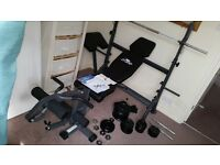 Weight Lifting Bench with Dumbell/Barbell + Weights (AS NEW !!! with warranty)