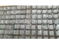 Tile glass silver grey 30x23cm single sheet plain and cracked effect bathroom kitchen DIY decoration