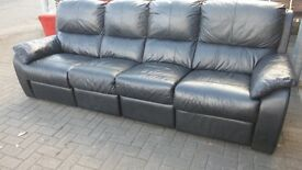 4 seater recliner black leather sofa.