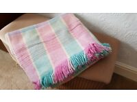 VINTAGE WELSH WOOL CARTHEN FRINGED BLANKET