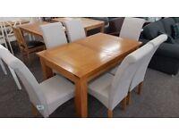 New Julian Bowen Astoria Extending Oak Dining Table & 6 Rio Dining Chairs Can/Del ViewHucknall Nottm