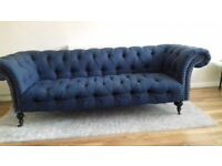 Excellent Used Condition 3 Seater Fabric Chesterfield Sofa