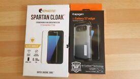 Spartan Cloak screen protector & spigen case S7 edge