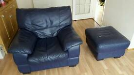 Leather 3 seater sofa, armchair and footstool.