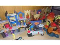 Imaginext castle and batcave with figures