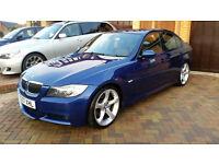 "BMW 330i in Beautiful Blue E90 2007 Low Miles, 19"", SatNav,FV-TV, Keyless, Angel Eyes, Leather, HPI!"