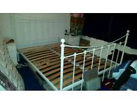 Kingsize dreams bed frame white metal